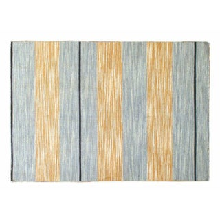 "Blue & Gold Striped Dhurrie - 4'1"" x 6'"