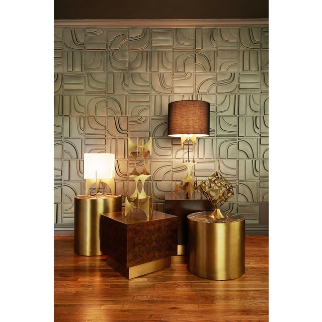 Small Modern Brass Thick Accent Lamp - Image 4 of 5