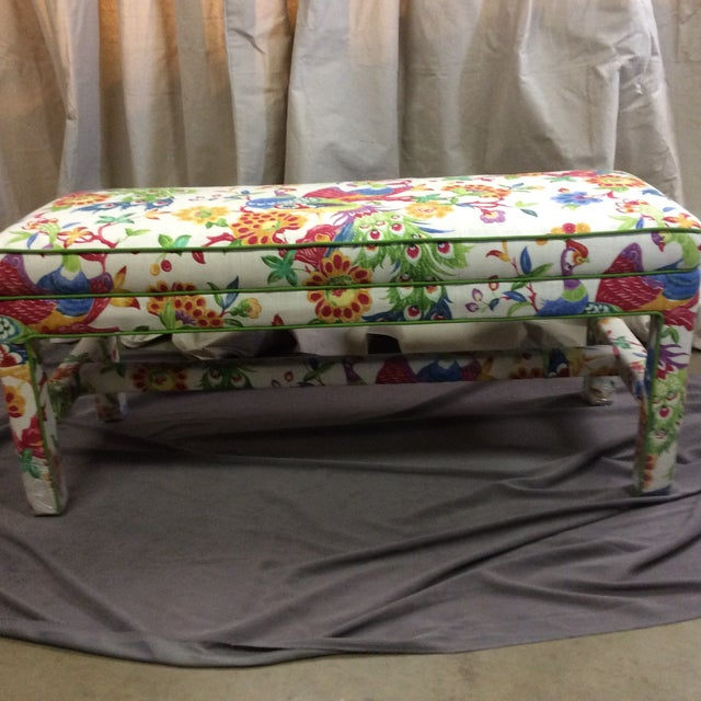 Upholstered Bench in Peacock Print Linen - Image 3 of 7