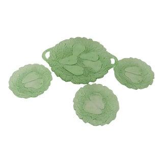Green Avocado Depression Glass Fruit Plates S/4