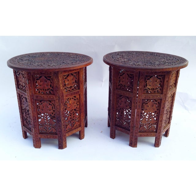 Anglo-Indian Rosewood Elaborately Carved Tables - Pair - Image 2 of 6