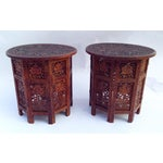 Image of Anglo-Indian Rosewood Elaborately Carved Tables - Pair