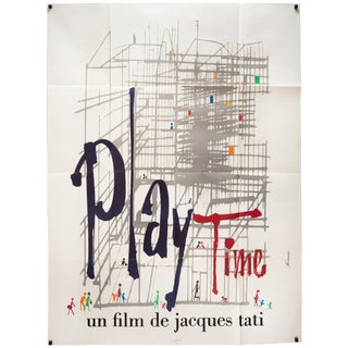 """Vintage 1967 French Jacques Tati """"Play Time"""" Film Poster"""