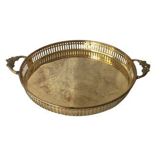 Vintage Brass Tray with Floral Handles