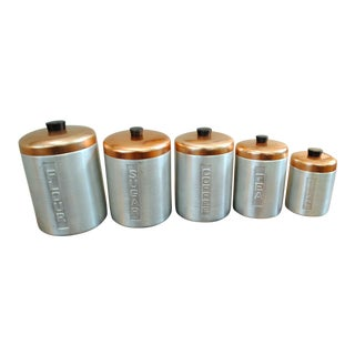 1950s Mid-Century Aluminum Nesting Canisters - Set of 5