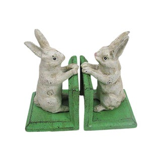 White Cast Iron Rabbit Bookends - A Pair