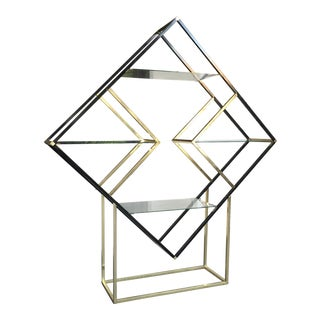 Milo Baughman StyleMid-Century Diamond Brass Eterge