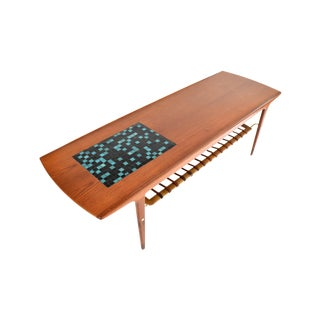 Refinished Mid Century Modern Teak, Mosaic & Leather Coffee Table