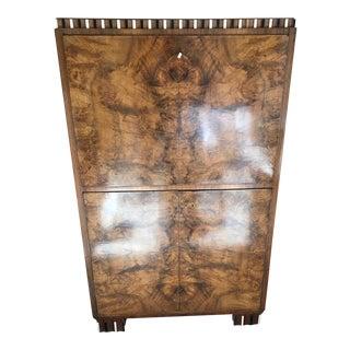 Biedermeier Burled Wood Cabinet with Fold Down Desk Top & Drawers