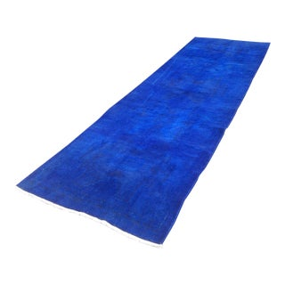 Vintage Cobalt Blue Overdyed Runner- 4′ × 12′3″