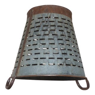 Vintage Olive Strainer Bucket Pendant Light