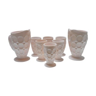Vintage Shell Pink Thumbprint Ware - Set of 8