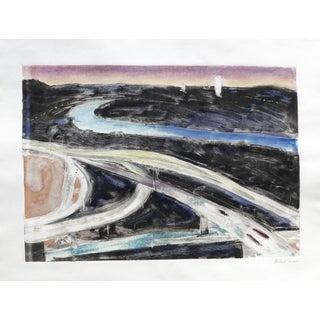 """""""Los Angeles Freeways at Night"""" Original Painting by Humbert Curcuru"""