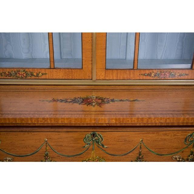 English Adams Style Painted Satinwood Secretary - Image 6 of 10