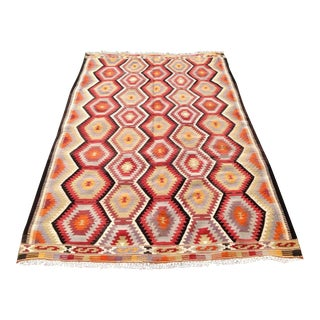 Vintage Turkish Kilim Rug - 5′6″ × 8′5″