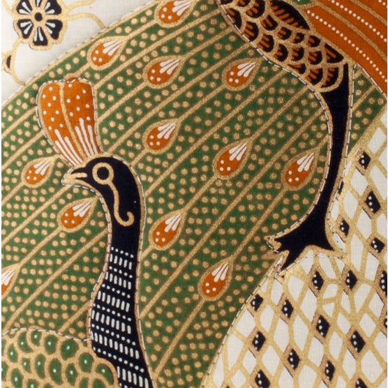 Image of Quilted Green Peacock Batik Pillow