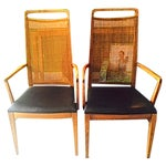 Image of Mid-Century Wood & Cane Armchairs - a Pair