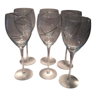 Vintage Silver Swirl Crystal Glasses - Set of 6