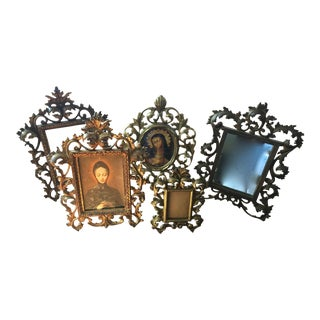 Ornate Brass Frames & Mirror - Set of 5