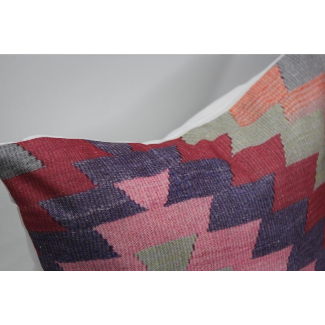 Diamond Pattern Kilim Inspired Print Pillow - 18'' - Image 7 of 8
