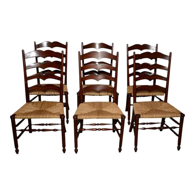 Image of English Ladder Back Dining Chairs - Set of 6
