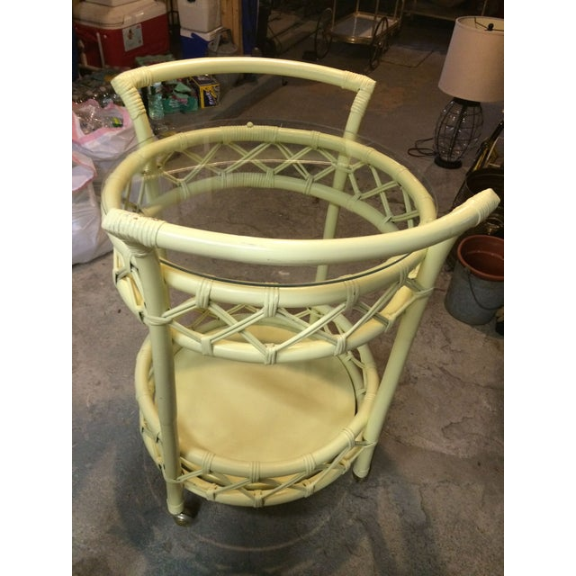 Vintage Cream Rattan Bar Cart - Image 5 of 7
