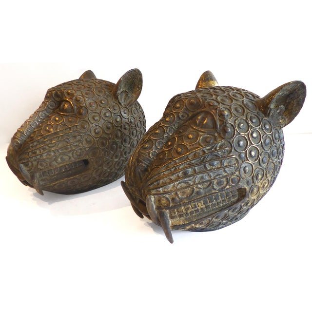 Bronze Leopard Heads From Cameroon - A Pair - Image 2 of 11