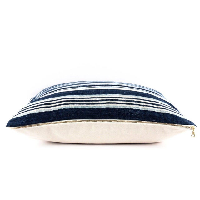 Blue Striped African Mudcloth Pillow - Image 3 of 4