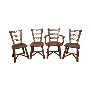 Romweber Viking Oak Horse Head Chairs - Set of 4