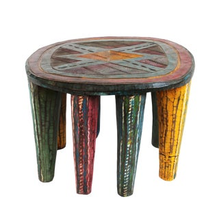 Vintage Colorful Nupe Stool