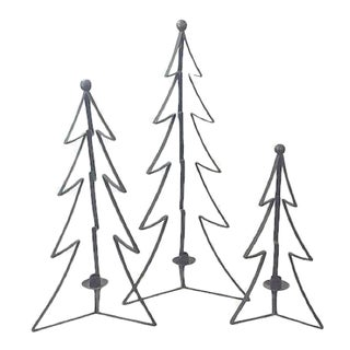 Metal Tree Mantle Candleholders - Set of 3