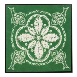 Sarreid LTD Framed Green Yi Batik Fabric