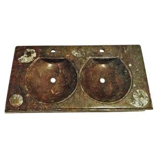 Dual Sink Fossil Stone Vanity Top