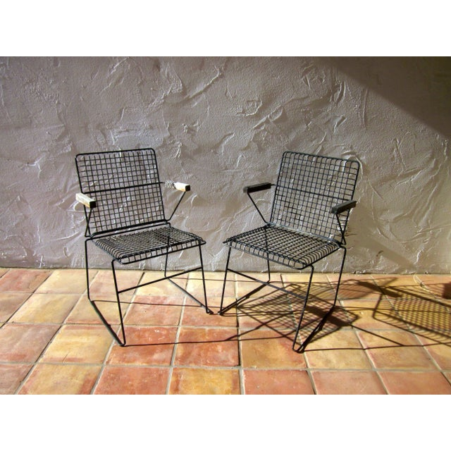 John Keal Style Modern Patio Iron Armchairs - Image 5 of 5