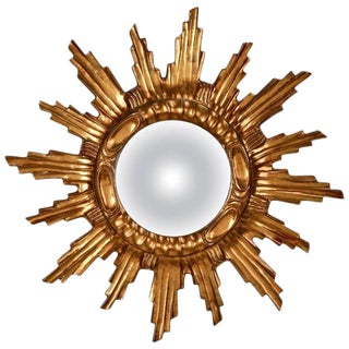 Spanish Mid-Century Carved Giltwood Sunburst Wall Mirror