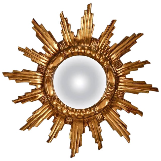 Spanish Mid-Century Carved Giltwood Sunburst Wall Mirror - Image 1 of 5