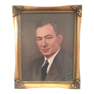 Vintage Framed Portrait Painting of Business Man