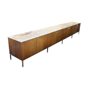 Extremely Rare Florence Knoll 13 Foot Monumental Marble Top, Walnut Credenza