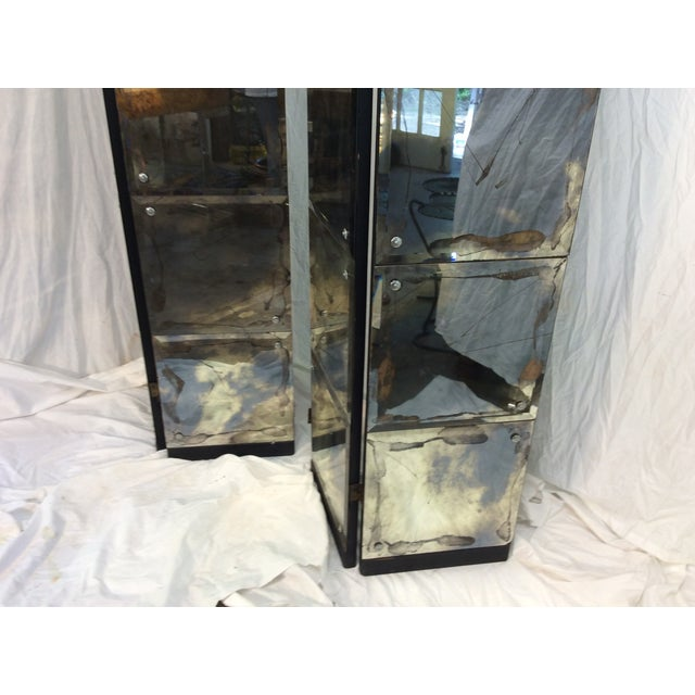 Mid-Century Modern Mirrored Four-Panel Screen - Image 7 of 11