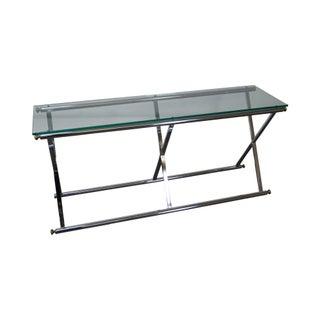 Vintage Chrome & Glass X Base Console Table