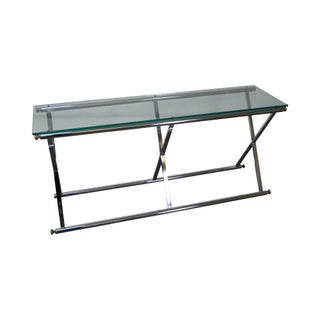 Vintage Chrome & Glass X Base Console Table