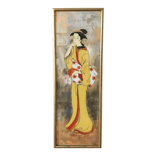 Mid Century Asian Geisha Painted Mirror