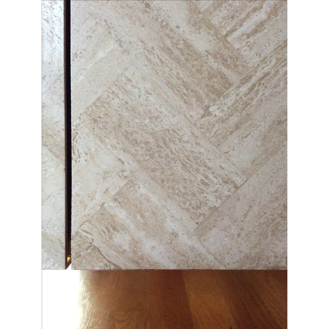 Ello Travertine Marble & Brass Bar Cabinets - A Pair - Image 3 of 10