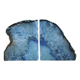 Blue Polished Crystal Rock Geode Bookends