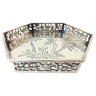 Antique Hexagon Asian Silver Tray