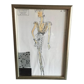 Framed Givenchy Croquis of a Point d'Esprit Gown