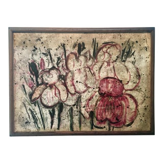1950s Vintage Abstract Garden Landscape Painting