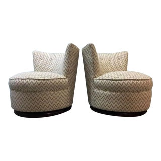Mid-Century Zig Zag Swivel Chairs - A Pair