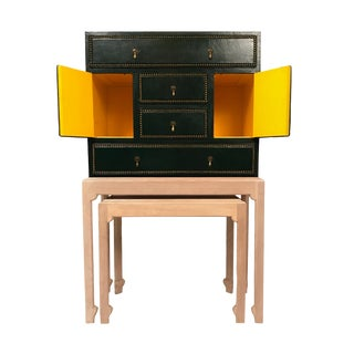 Edward Wormley Dunbar Leather and Bleached Cerused Oak Cabinet with Nested Table