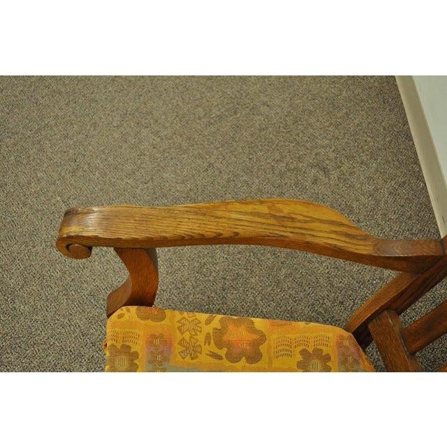 Antique Mission Arts & Crafts Carved Solid Oak Rocking Lounge Chair - Image 9 of 11